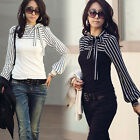 Hot Ladies Women Polo Neck Puff Long Sleeve Stripe T-shirt Tops Blouses Casual