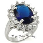 WOMEN'S SILVER TONE 6 CT OVAL MONTANA BLUE 4 PRONG CZ ENGAGEMENT RING SIZE 5,7,8
