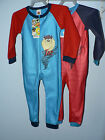 BOYS  LOONEY TUNES  TAZ FLEECE ALL IN ONE SLEEPSUIT PYJAMAS  AGE 2 4 & 8