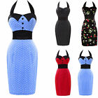 Wiggle Penci Polka Dot Party Rockabilly Style Cotton Business Halter Dress Club