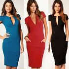 Fashion Career Women's Pinup V-neck Shift Tunic Pocket Sheath Party Pencil Dress