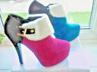 UNUSUAL FLEECE TRIM ANKLE BOOTS FUSHIA OR LIGHT BLUE SIZES 5 - 8 ( 38-41 )
