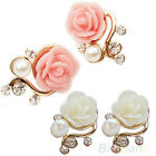 Korean Style OL Rose Flower Gorgeous Crystal Rhinestone Pearl Stud Earrings B59U