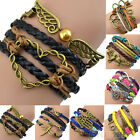 Women Vintage Multilayer Braided Bracelet Handmade Hollow Chain Cuff Bangle B52U