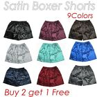 Men's Silky Satin Underwear Homewear Underpants Boxer Shorts Buy 2 get Free 1