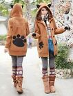 girl bunny ears&feet hoody sweater jacket blue/brown/gray/red