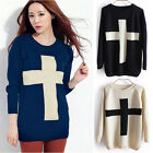 Women Round Neck Long Batwing Sleeve Pullover Jumper Loose Sweater Knitwear Tops