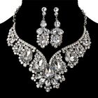 Womens Designer Wedding Party Crystal Rhinestone Earrings Necklace Jewelry Sets