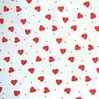 White and Red Polka Dot Hearts Fabric 100%  Cotton - QUILTING PATCHWORK BUNTING