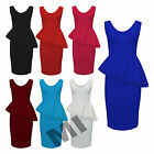 New Womens Ladies Sleeveless  Side Slant Frill Front  Peplum Bodycon Dress 8-22
