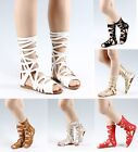 Gladiators Knee High Zip Open Flat Strappy Womens Sandals Shoes Size 5.5 - 10