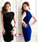 Vogue temperament OL Sexy One-shoulder slim fit show thin wrap hip pleated dress