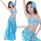 SILVER COLOR 2 PC BELLY DANCE COSTUME SET BRA TOP SKIRT BOLLYWOOD DANCING BEADED