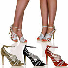 L1M Womens Strappy High Heels Sandals Party Diamante Bridal Ladies Shoes Size