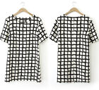 Womens European Fashion Black White Grid Short Sleeve Crewneck Dress B5065