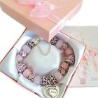 PERSONALISED LADIES LUXURY PINK SPARKLE CHARM BRACELET BEAD GIFT/PRESENT BOXED