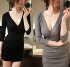 Womens Fashion Deep V Neck Long Sleeve Elastic Cocktail Slim Sexy Dress R528