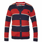 BENCH Image BNWT Button-Front Striped Mens Cardigan Red/Navy/White Size XXL