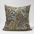 Chocolate Brown,Ivory,kiwi Paisley Throw Pillow Cover Pillow Case pick your Size