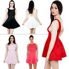 New Womens Ladies Plain Backless Party Skater Dress Skirt Size S M L XL 8 12 14