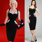 Women Celeb Vintage 40 50s pinup Polka Dot Slimming Party Midi Pencil Dress XS~L