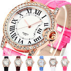 Funky Lady Men Couple Roman Dial Rose Gold Crystal Bracelet Quartz Watch B58U
