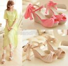 Ladies Peep Toe Chiffon Ankle Strap Platform Espadrille Wedge Sandal Shoes A70