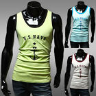 Hot Sale Mens Plain T-Shirts Tank Top Muscle Sleeveless A-Shirt Sports Printed