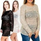 New Ladies Womens Long Sleeve Crochet Knit Knitted Jumper Dress Top Size S M L