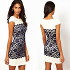 Celeb Lady Lace Polyester Dresses Tunic Sexy Crew Neck Slim Cocktail Party Dress