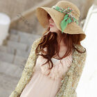 Womens Vintage Sun Hat Bowknot Summer Beach Cap Straw Hat Wide Large Brim Sunhat