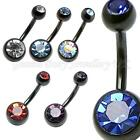 Double CZ Gem Black Titanium Plated Belly Bar 14G (1.6mm x 6mm) IN MANY COLOURS
