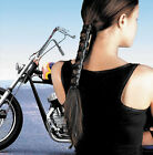 Womens Black Solid Leather Ponytail Wrap Hair Glove Motorcycle Hair Holder MC HD