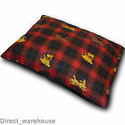 Large or Extra Large Dog/Pet Snuggle Bed Pillow Tartan Red Cover or Filled