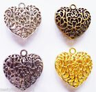 1 x Large Filigree Heart Charm 35mm Pendant - Choice Silver, Gold, Bronze, Black