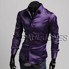 Men's Stylish Slim Fit Solid Color Long Sleeve Shirts Casual Tops 4Size S M L XL