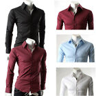 Hot Sales JS PJ Long Sleeves Muscle Button Down Mens Casual Shirts 4Colors