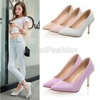 Womens Pointed Toe Slip On Metallic High Heel Pumps Court Shoes Plus Size C-38