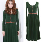 Women Vintage Knit Long Sleeve Button Pleated Retro Dress Skirt With Belt M L XL