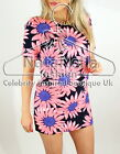 Womans Jessica Wright Daisy Print Celebrity Summer Shirt Crepe Tunic Shift Dress