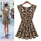 Ladies Sexy Leopard Swing Mini Dress Crewneck Tunic Skater Party Dress 4 Sizes