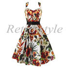 STUNNING 50's STYLE TROPICAL FLORAL PRINT VINTAGE SUMMER DRESS SIZE 8-18