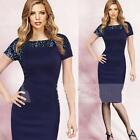 Sexy Women Short Sleeve Splice Bodycon Party Evening Dress Cocktail Clubwear