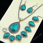 2018 Real Vintage Jewelry Set Water Turquoise Silver Necklace Earring Bracelet