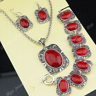 Freeshipping Vintage Jewelry Set Red Turquoise Stone Necklace Earrings Bracelet