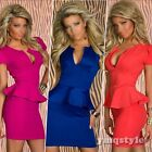 European Womens Deep V Neck Short Sleeve Peplum Solid Cotton Empire Mini Dress