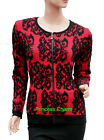 Womens Black Red Wool Blend Cardigan Long Sleeve Size S M L New Raised Pattern