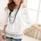 Sexy Lady Girls Lace 2-Piece set Loose Batwing Tops Blouses Tank Top T-shirt New