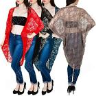 New Womens Ladies Batwing Lace Longline Kimono Cardigan Top Size S M L XL 8 14