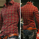 Mens Boys Long Sleeve Plaids Collared Casual Business Dress Shirts Tops S M L XL